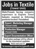 Export Marketing Manager Production Manager Jobs in Lahore