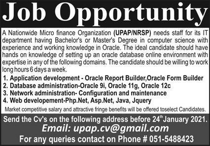 Micro Finance Organization UPAP NRSP Jobs 2021 in Rawalpindi