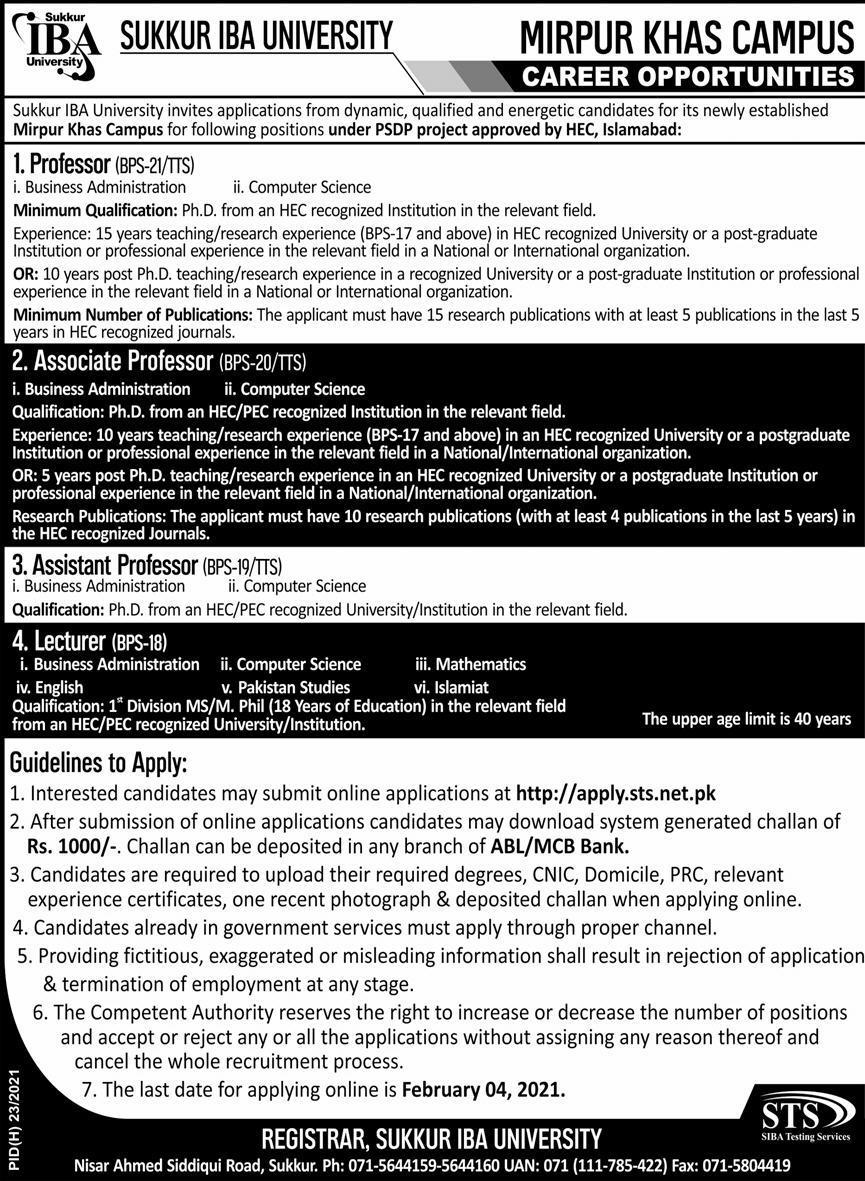 Sukkur IBA University Jobs 2021 in Mirpur Khas Campus