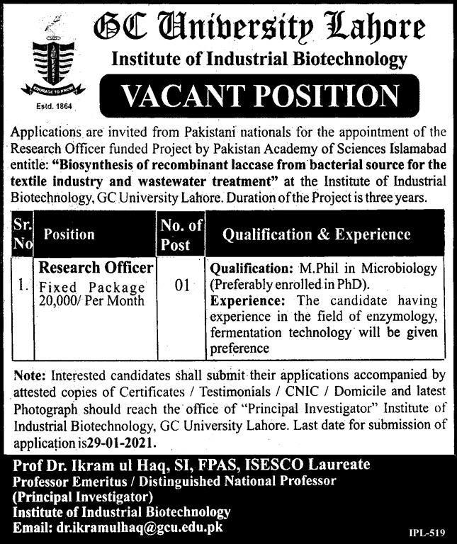 GC University Lahore Jobs 2021
