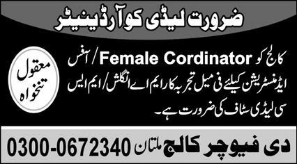The Future College Multan Jobs 2021