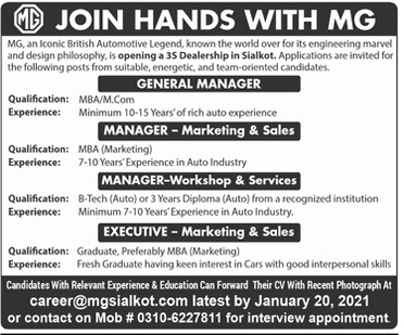 General Manager Marketing Manager Jobs in Lahore