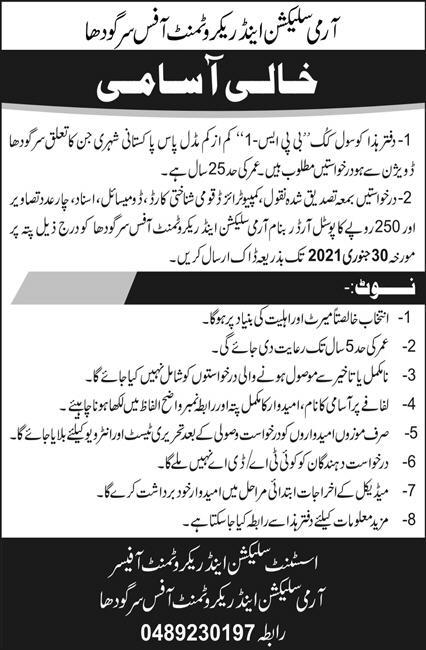 Army Selection and Recruitment Office Sargodha Jobs 2021