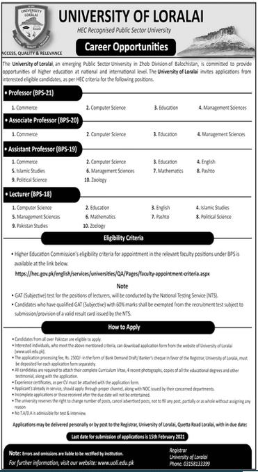 University of Karachi Teaching Jobs 2021