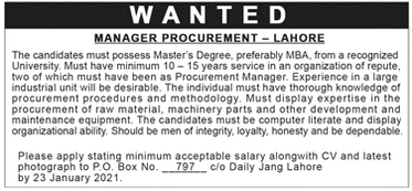 Manager Procurement Job in Lahore