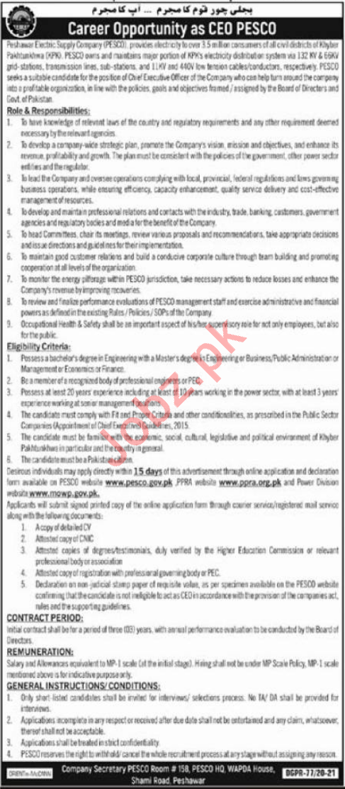 Peshawr Electricity Supply Company PESCO CEO Jobs 2021