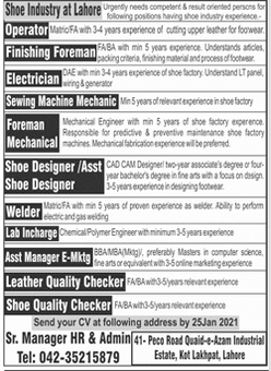 Operator Finishing Foreman Electrician Jobs in Lahore