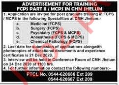 Combined Military Hospital CMH Jhelum FCPS Trainee Jobs 2021