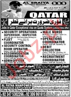 Management Staff Jobs in Al Sraiya Security Services Qatar