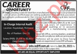 FF Steel Manufacturing Industry Internal Audit Jobs2021