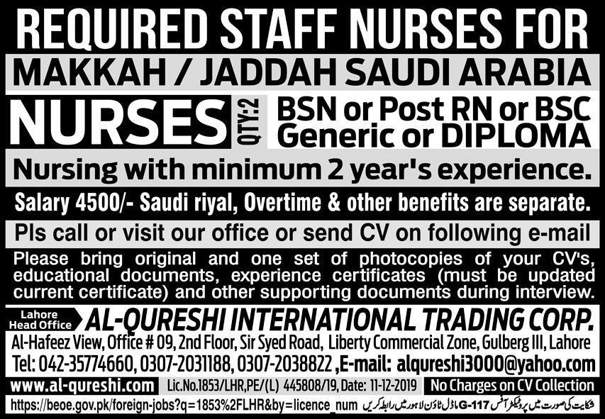 Staff Nurses Jobs in Saudi Arabia