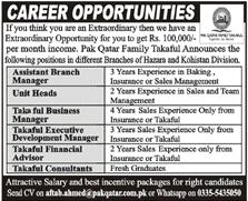Pak Qatar Family Takaful Company Ltd Jobs 2021