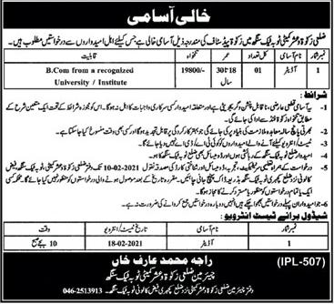 Zakat & Ushr Department Job 2021 in Toba Tek Singh
