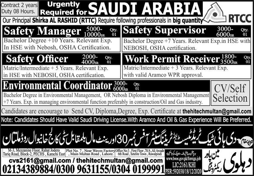 Work Permit Receiver Safety Supervisor Jobs in Saudi Arabia