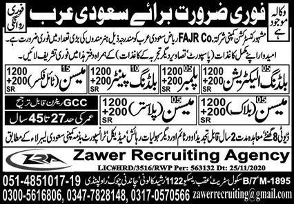 Fajr Construction Company Jobs 2021 in Riyadh Saudi Arabia