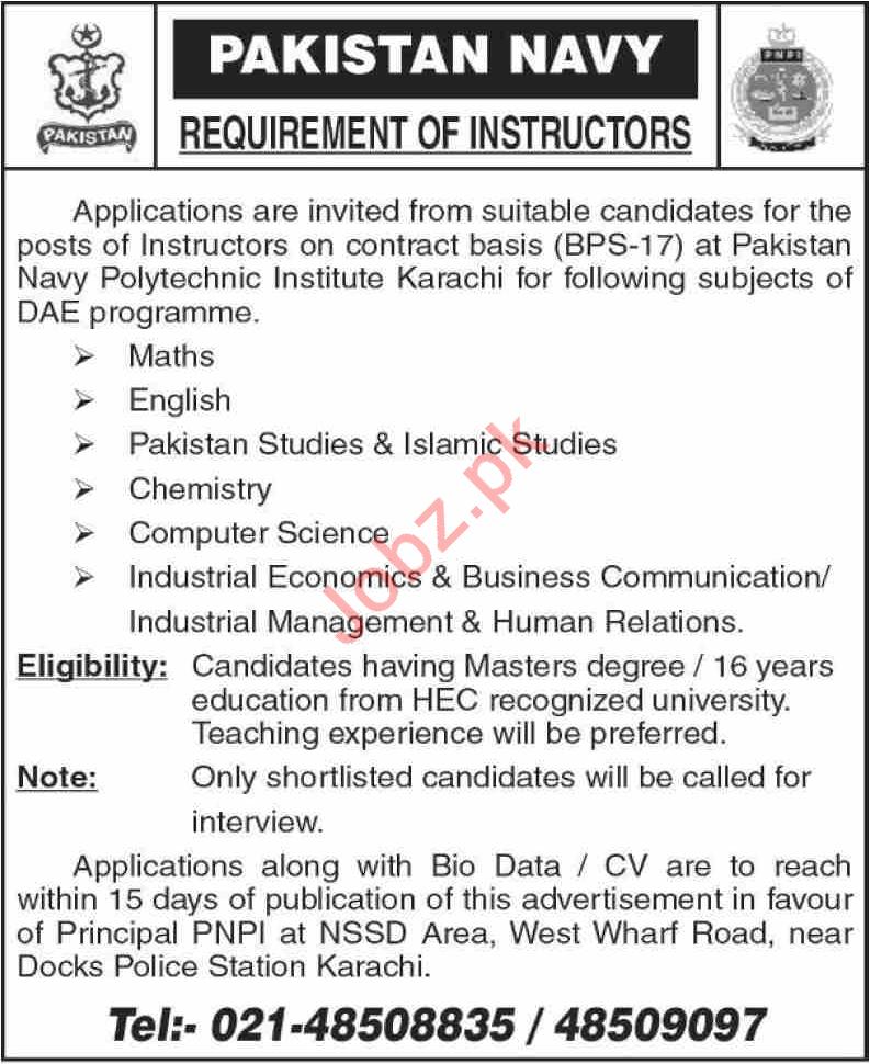 Pakistan Navy Polytechnic Institute Karachi Jobs 2021