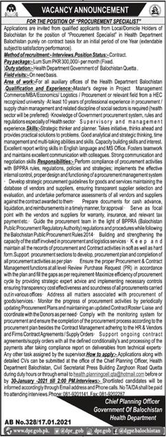 Government of Balochistan Health Department Jobs 2021