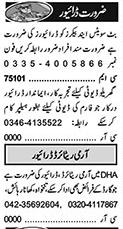 Khabrain Sunday Classified Driving Staff Jobs 17 Jan 2021