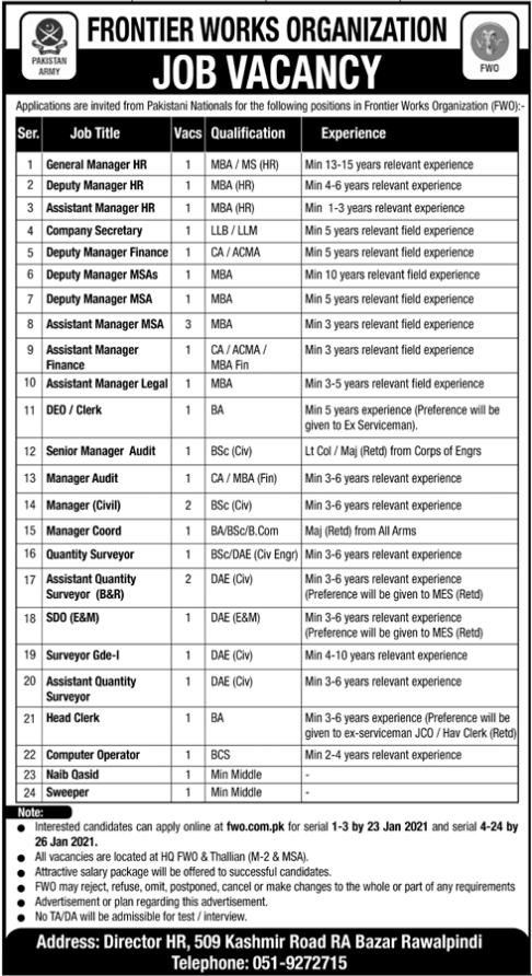 Frontier Works Organization FWO Jobs in Rawalpindi 2021