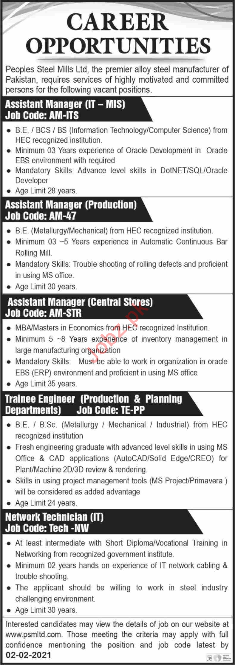 Management  Jobs in Peoples Steel Mills Limited