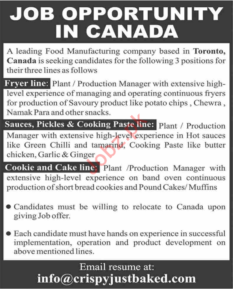 Food Manufacturing Company Management Jobs 2021