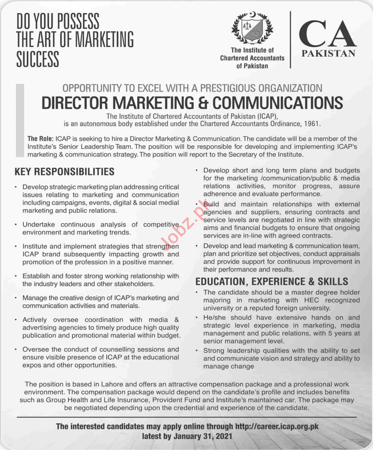 Director Marketing & Communication Jobs in CA Pakistan