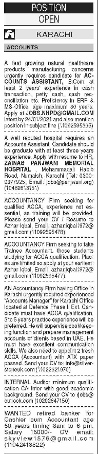 Daily Dawn Sunday Classified Accounts Staff Jobs 17 Jan 2021