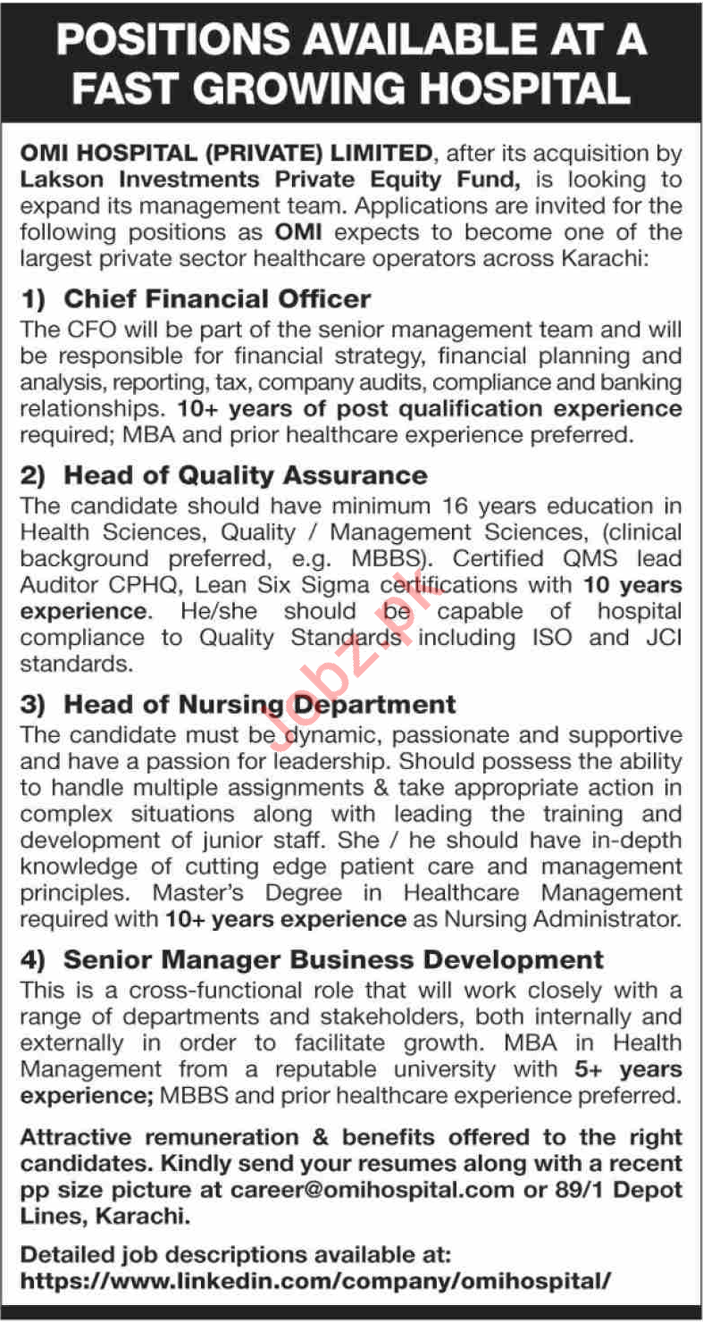 OMI Hospital Private Limited Management Jobs 2021