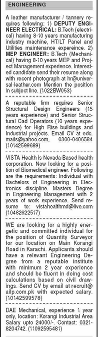 Daily Dawn Newspaper Classified Engineering Staff Jobs 2021