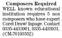 Composer Jobs in Lahore