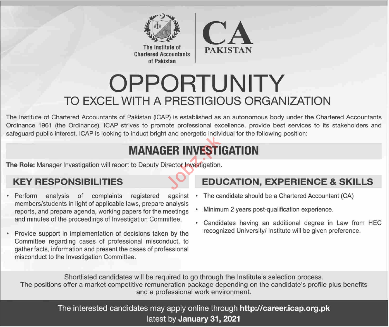 ICAP Pakistan Manager investigation Jobs 2021