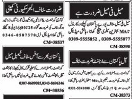 Security Guard Cook Driver Jobs in Islamabad