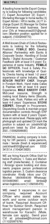 Daily Dawn Newspaper Sunday Classified Jobs 17 January 2021