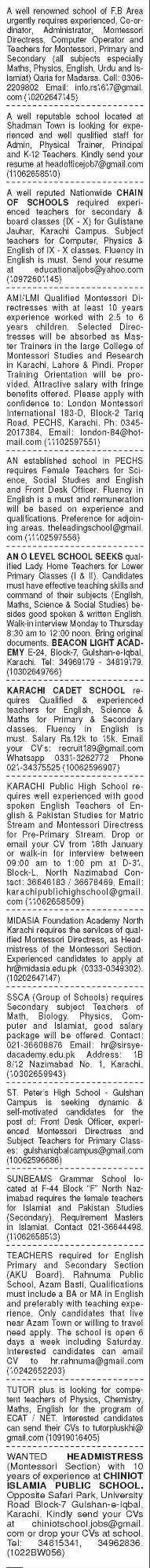 Daily Dawn Sunday Classified Teaching Staff Jobs 17 Jan 2021