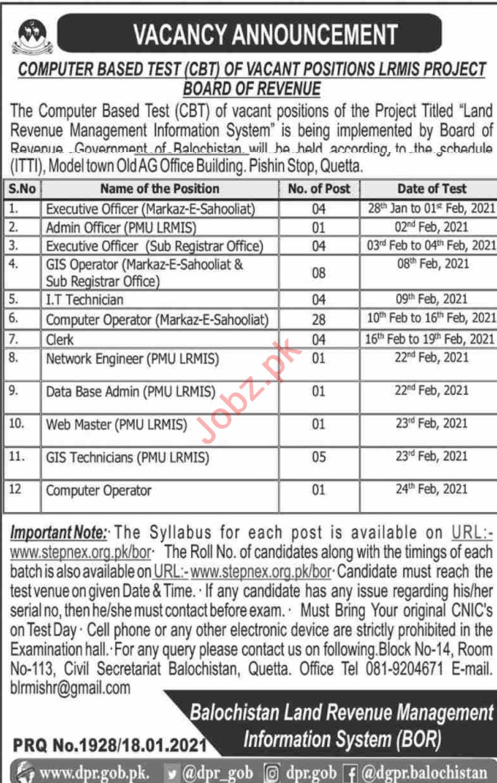 Land Revenue Management Information System Quetta Jobs 2021