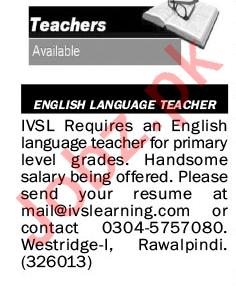 The News Sunday 17 January Teaching Jobs 2021 Rawalpindi