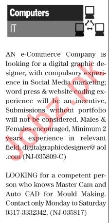 Daily Jang Sunday 17 January IT Staff Jobs 2021 Karachi