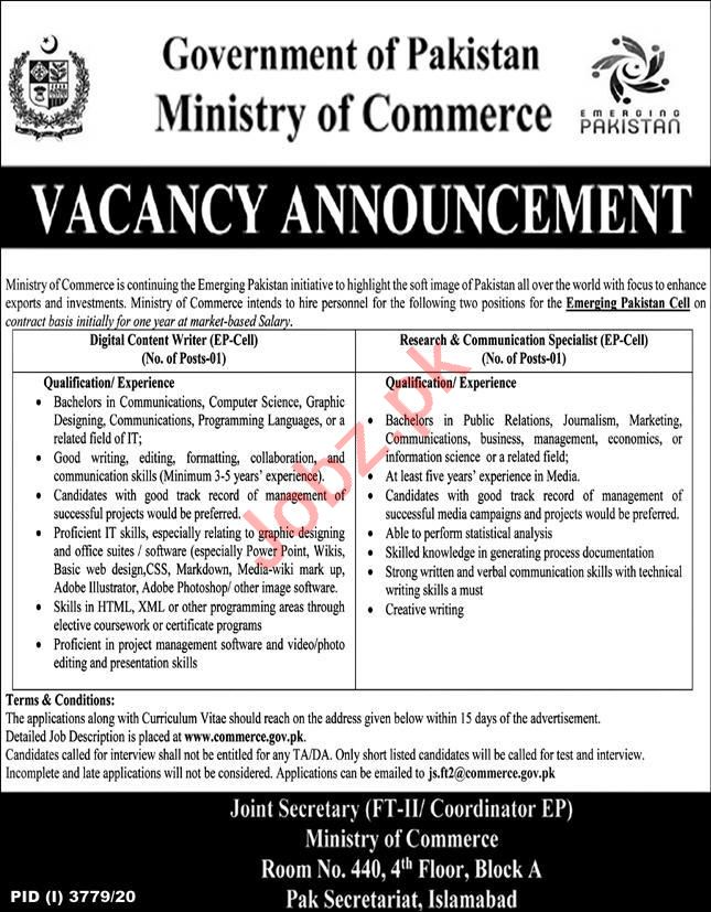 Ministry of Commerce Islamabad Jobs 2021 for Content Writer