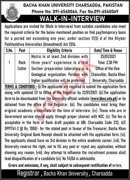 Bacha Khan University Charsadda BKUC Jobs 2021 Rock Cutter