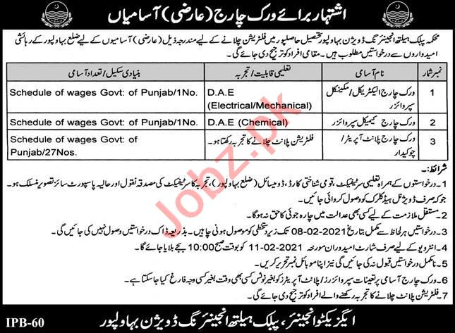 Public Health Engineering Division PHED Bahawalpur Jobs 2021