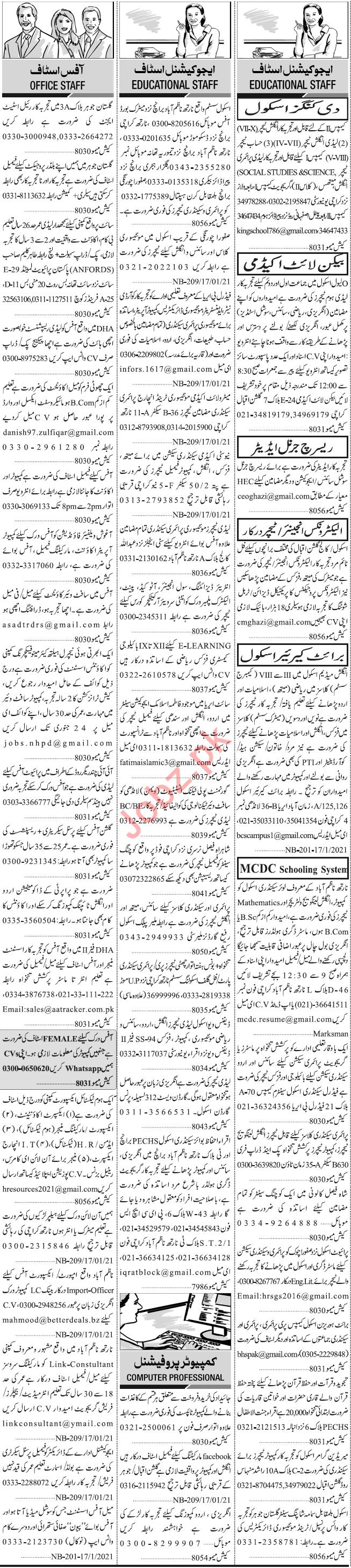 Daily Jang Sunday 17 January Educational Staff Jobs 2021