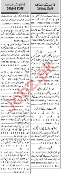 Daily Jang Sunday 17 January Driving Staff Jobs 2021 Lahore