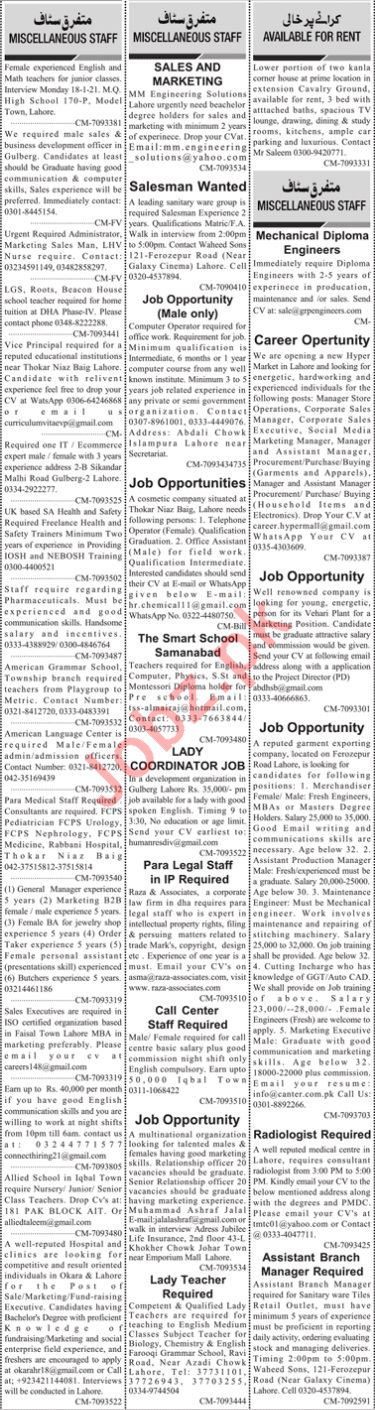 Daily Jang Sunday 17 January Management Jobs 2021 Lahore