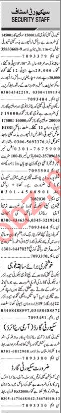 Daily Jang Sunday 17 January Security Staff Jobs 2021 Lahore