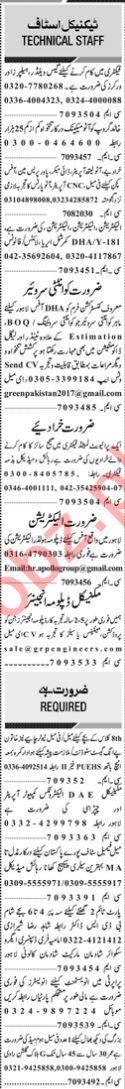 Daily Jang Sunday 17 January Technical Jobs 2021 Lahore