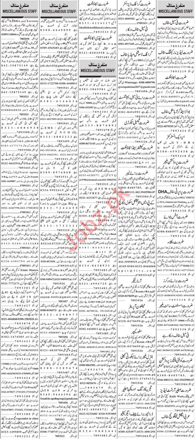 Daily Jang Sunday 17 January General Staff Jobs 2021 Karachi