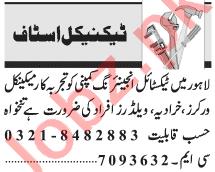 Lathe Machine Operator & Welder Jobs 2021 in Lahore