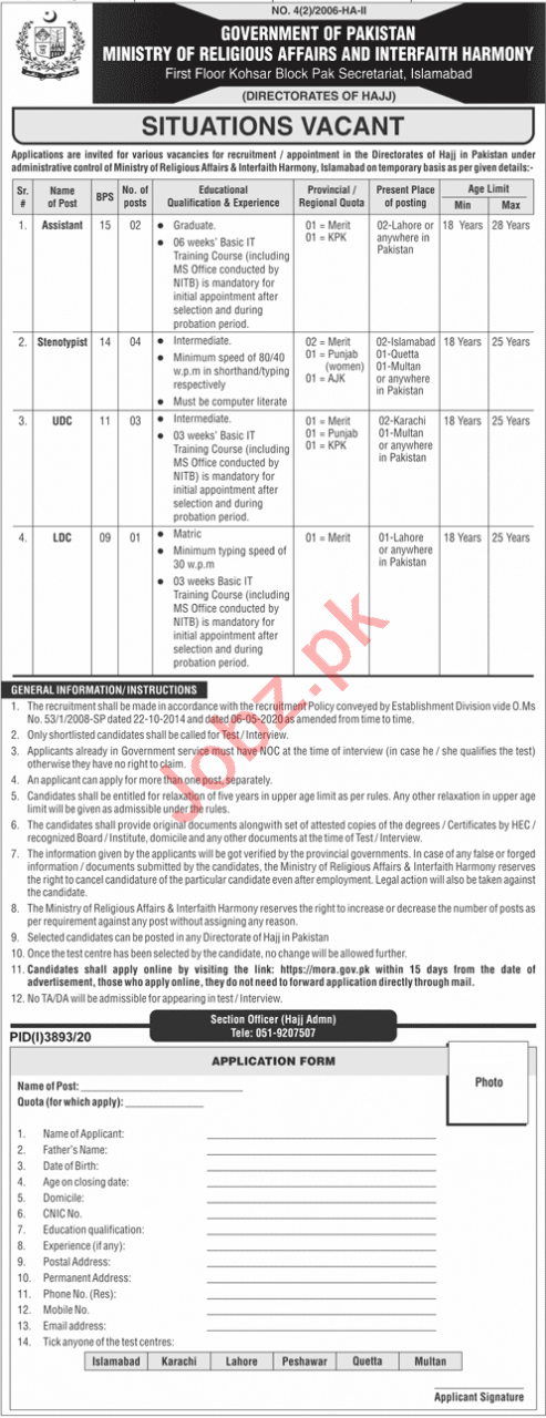 Ministry of Religious Affairs Jobs 2021 for Assistant & UDC