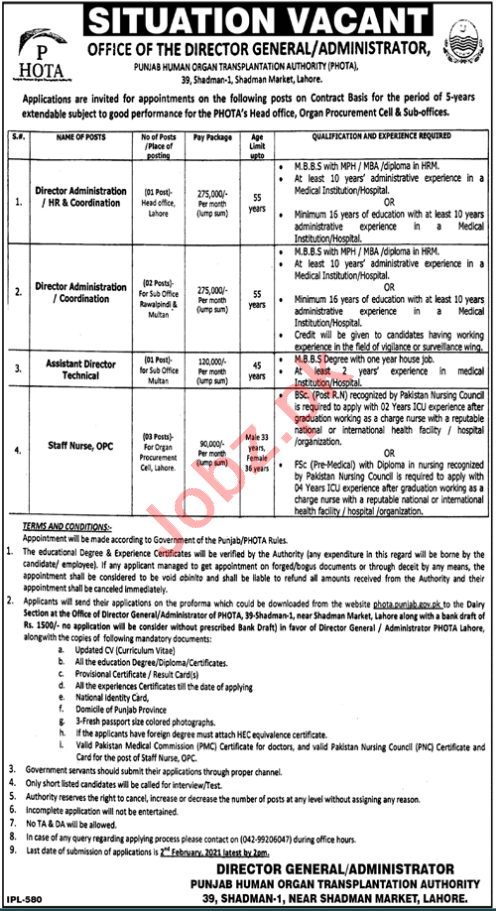 PHOTA Punjab Human Organ Transplantation Authority Jobs 2021