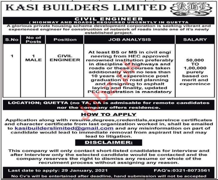 Kasi Builders Quetta Jobs 2021 for Civil Engineer